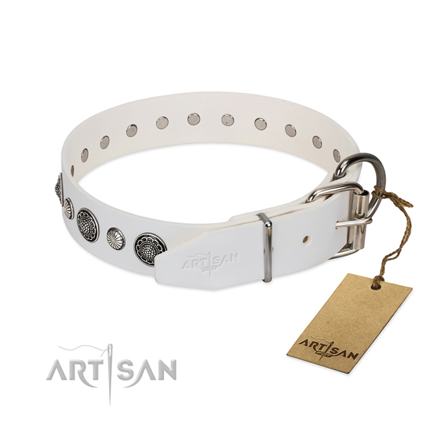 Soft Full grain natural leather dog collar with corrosion resistant buckle