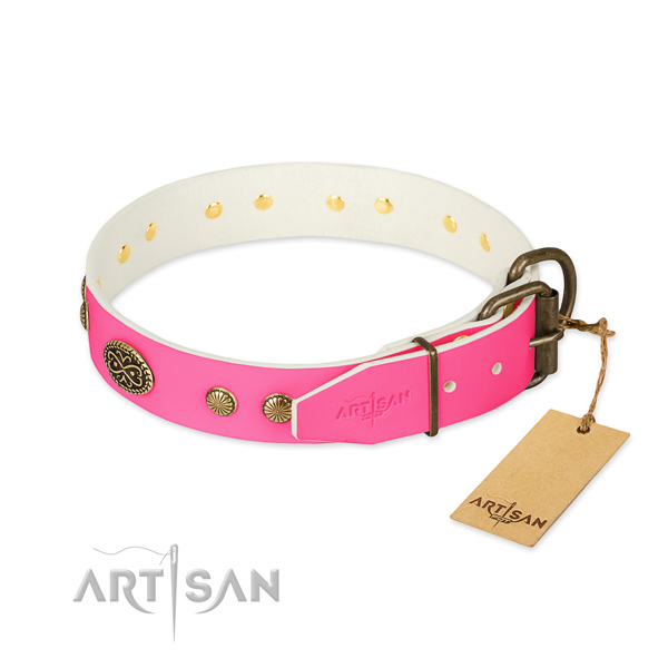 Reliable D-ring on genuine leather dog collar for your dog