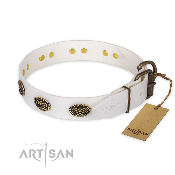 Strong hardware on genuine leather collar for walking your canine