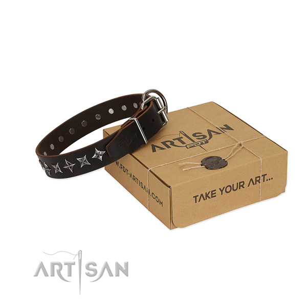 Comfy wearing dog collar of reliable full grain natural leather with embellishments