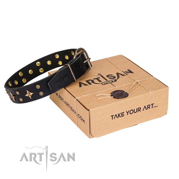 Comfortable wearing dog collar of strong full grain leather with embellishments