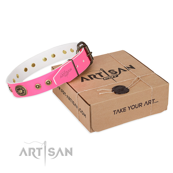 Leather dog collar made of top rate material with corrosion proof buckle