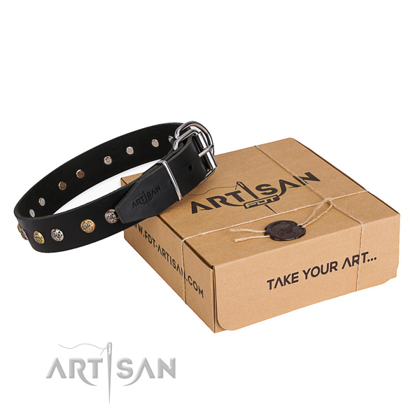 Best quality leather dog collar handmade for comfy wearing
