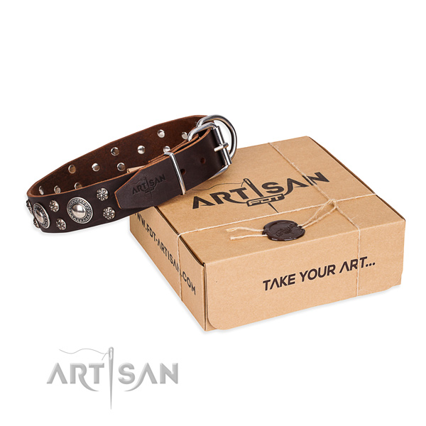 Comfy wearing dog collar of high quality full grain genuine leather with adornments