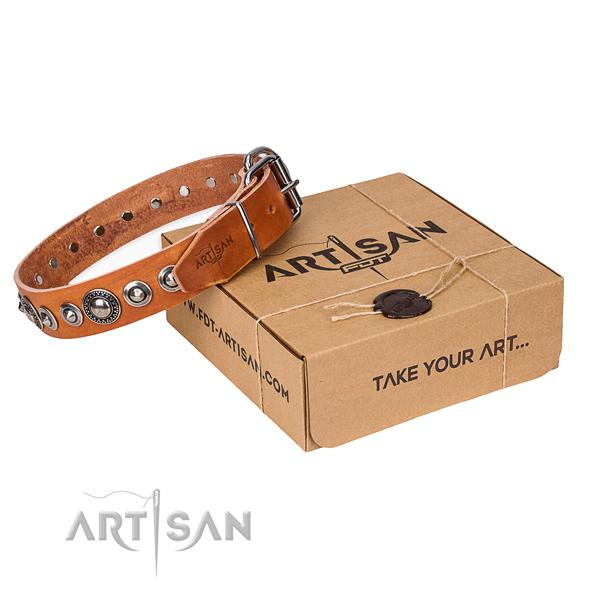 Leather dog collar made of best quality material with strong D-ring