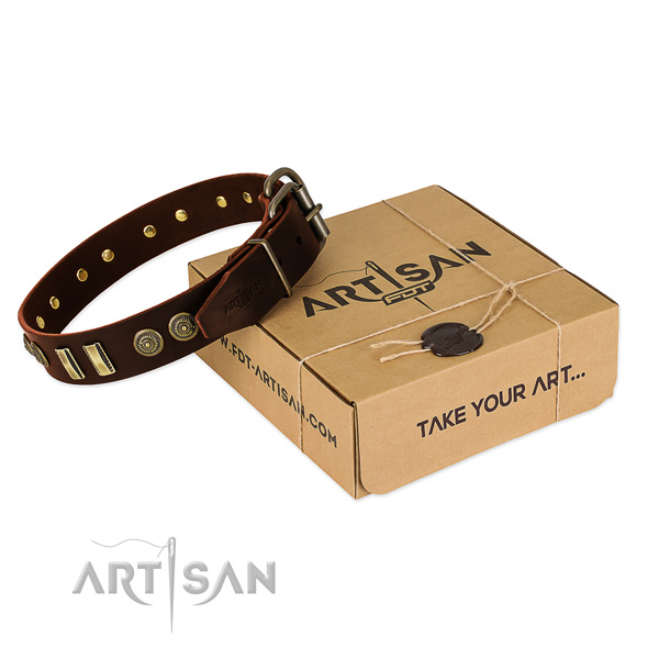 Rust resistant hardware on natural leather dog collar for your four-legged friend