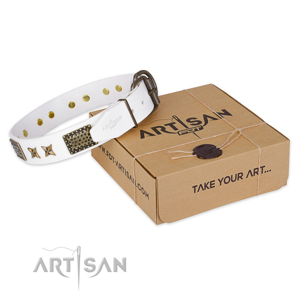 Durable hardware on natural genuine leather collar for your lovely pet