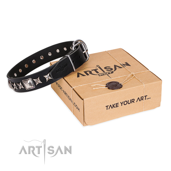 Everyday use dog collar of top notch natural leather with embellishments