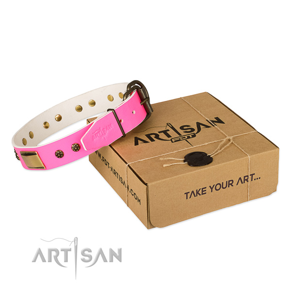 Easy adjustable full grain natural leather collar for your lovely dog