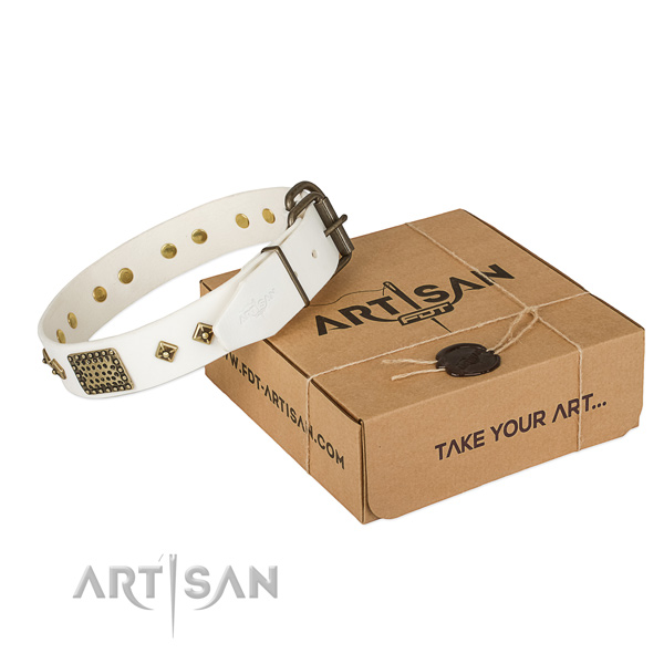 Top quality full grain natural leather collar for your lovely dog