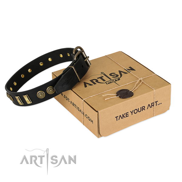 Durable buckle on leather dog collar for your pet