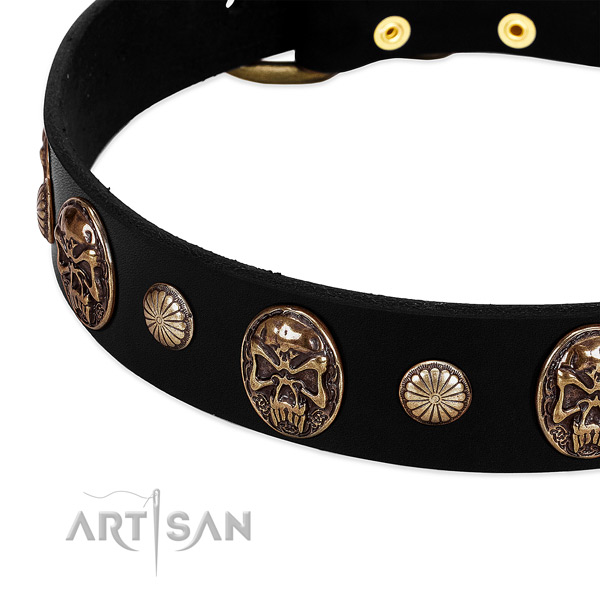 Genuine leather dog collar with inimitable adornments