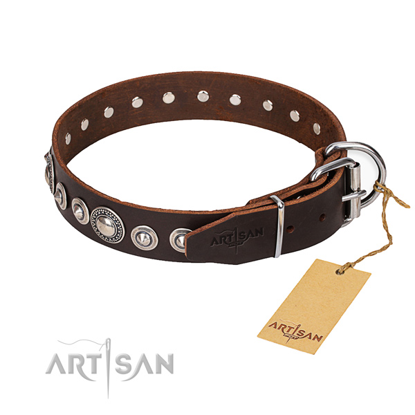 Full grain genuine leather dog collar made of quality material with rust resistant hardware