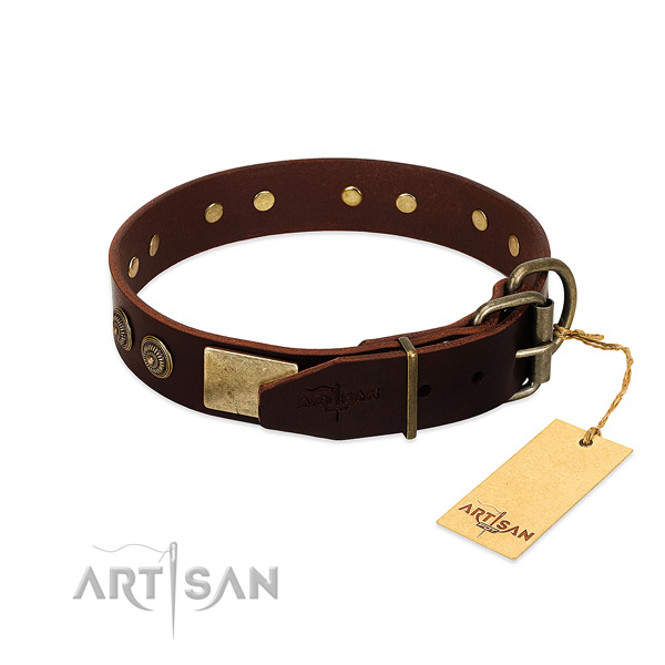 Strong fittings on genuine leather dog collar for your dog