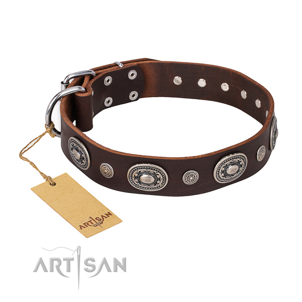 Top notch full grain natural leather collar crafted for your four-legged friend