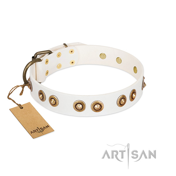 Handmade full grain natural leather collar for your canine