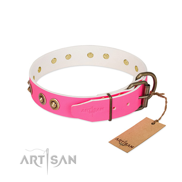 Full grain natural leather dog collar with strong buckle and decorations