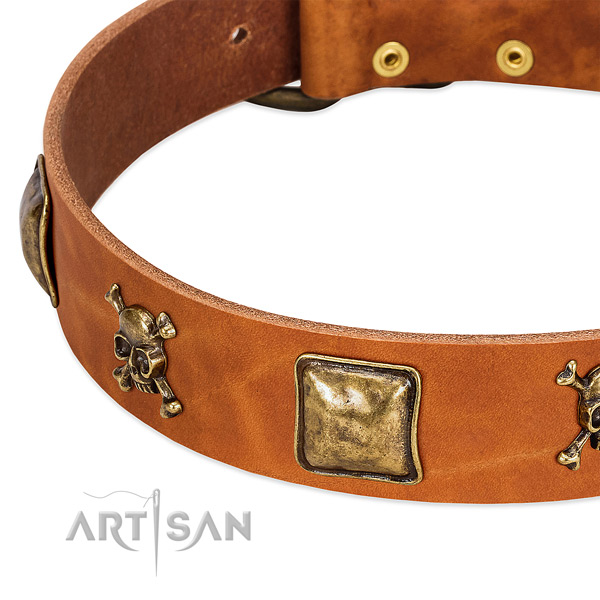 Stylish design full grain leather dog collar with durable decorations