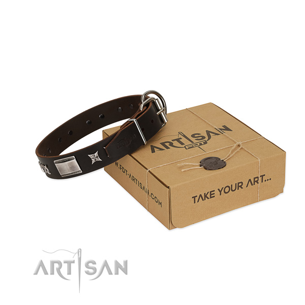 Convenient collar of full grain natural leather for your attractive doggie