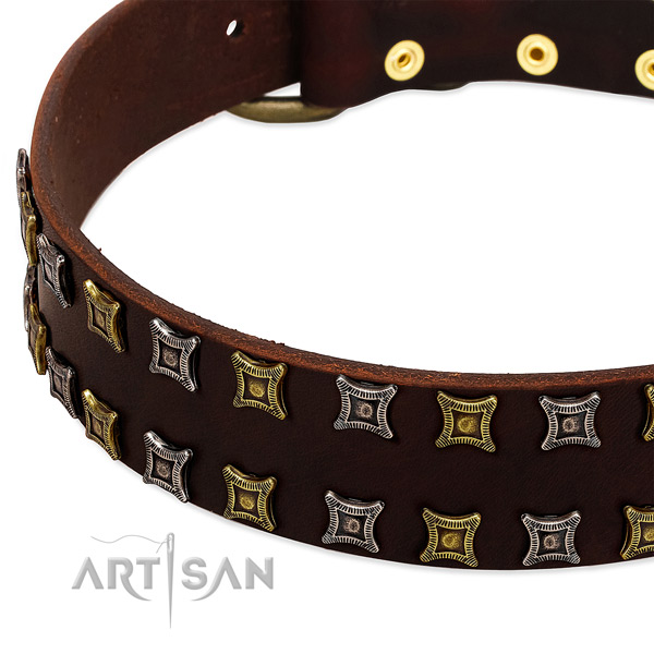 Best quality full grain genuine leather dog collar for your attractive doggie