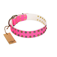 """Blushing Star"" FDT Artisan Pink Leather dog Collar with Two Rows of Small Studs"