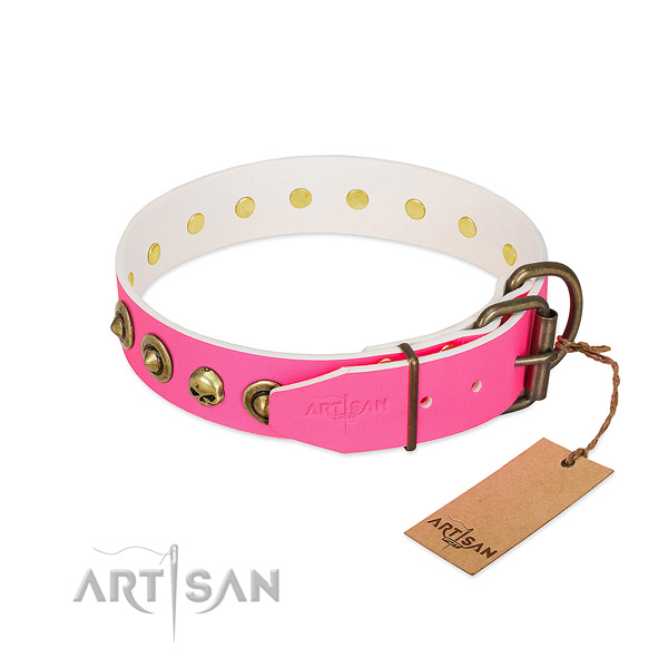Full grain genuine leather collar with exceptional studs for your pet