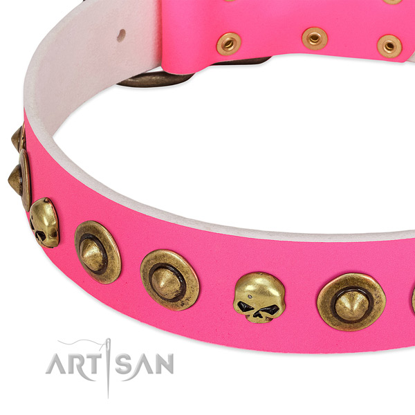 Stunning embellishments on full grain leather collar for your doggie