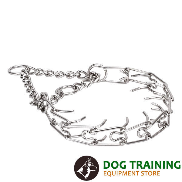 Corrosion resistant stainless steel prong collar for aggressive canines