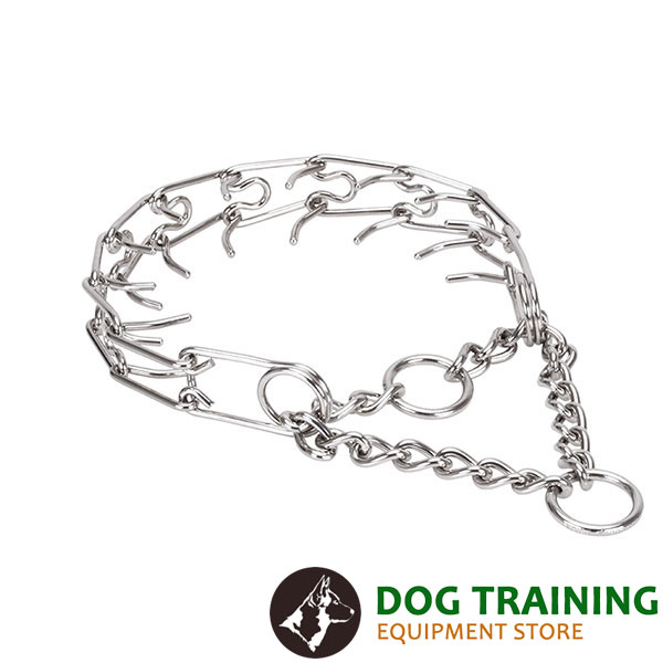 Prong collar of rust-proof stainless steel for badly behaved pets