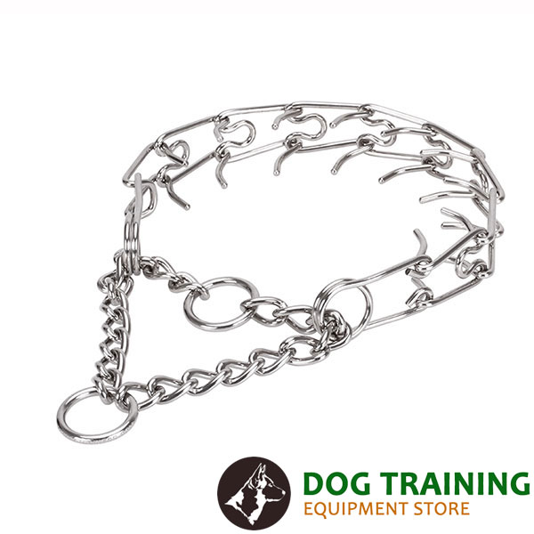 Adjustable stainless steel dog prong collar with removable links for medium and large pets