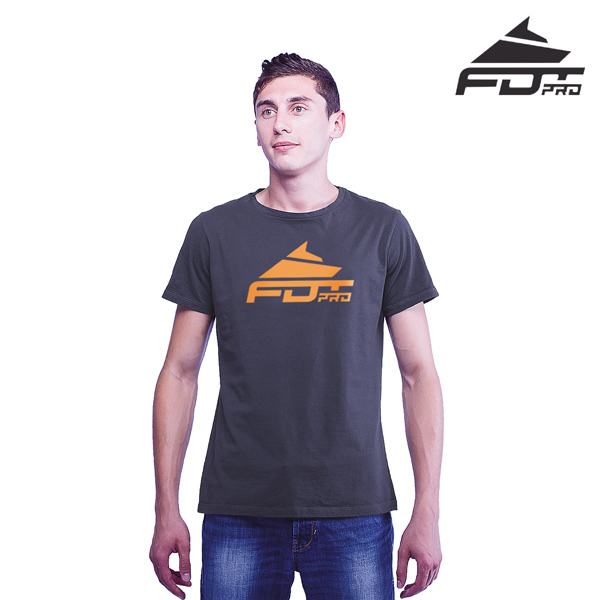 Strong Cotton FDT Professional Men T-shirt of Dark Grey Color
