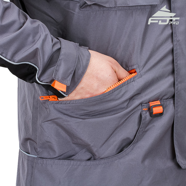 Grey Color FDT Professional Design Dog Training Jacket with Useful Side Pockets