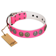 """Pink Butterfly"" Designer FDT Artisan Pink Leather dog Collar with Round Studs"