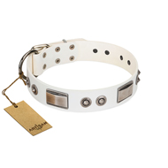 """Good-Luck Piece"" FDT Artisan White dog Collar Adorned with Chrome Plated Studs and Plates"