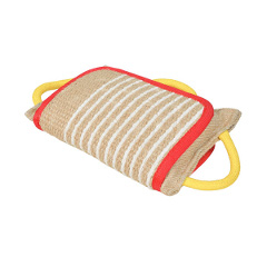 Reliable jute bite pad for dog training with   handles