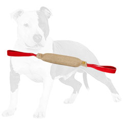 Long-lasting jute dog tug with natural stuffing