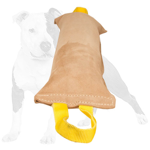 Leather dog bite tug for grown-up dogs